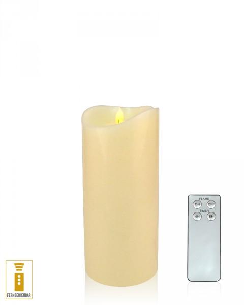 Lichtdekor LED Echtwachskerze Flame 9 x 18 cm Timer Fernbedienung elfenbein
