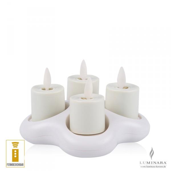 Luminara Akku Teelicht 4er Set mit Ladestation fernbedienbar