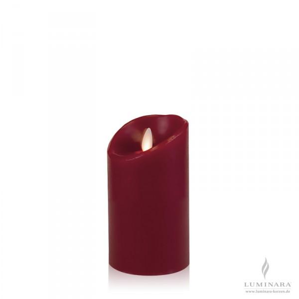 Luminara LED Kerze Echtwachs 8x13 cm bordeaux glatt AKTION