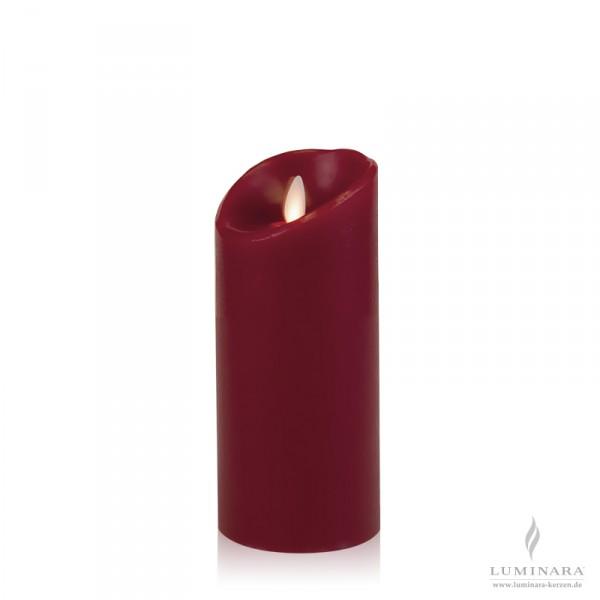Luminara LED Kerze Echtwachs 8x18 cm bordeaux glatt AKTION