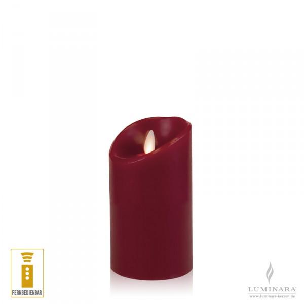 Luminara LED Kerze Echtwachs 8x13 cm bordeaux fernbedienbar glatt AKTION