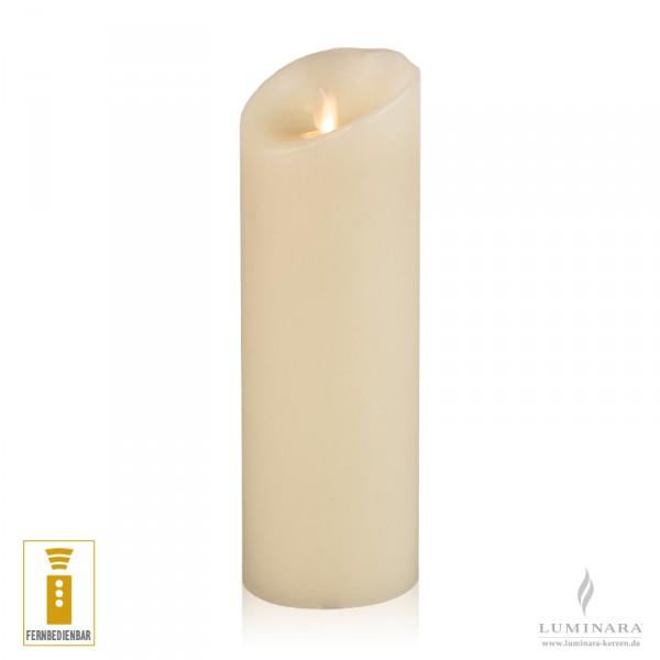 Luminara LED Kerze Echtwachs 8x23 cm elfenbein fernbedienbar glatt NEU