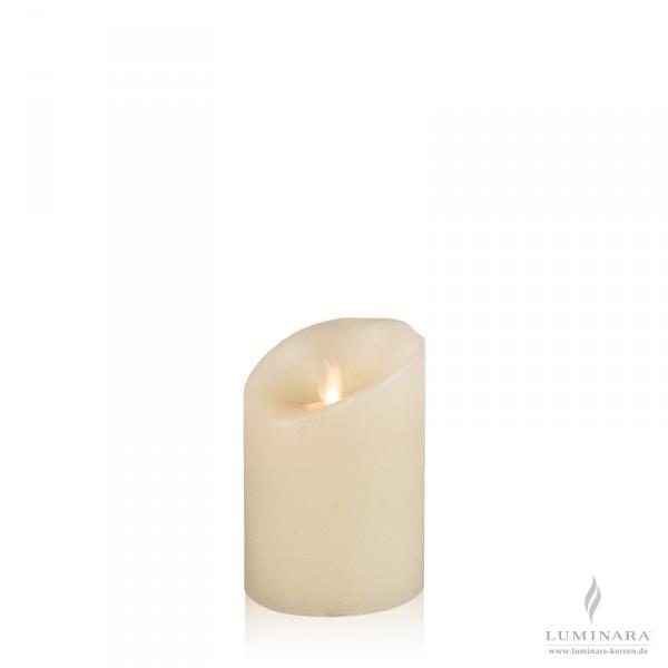 Luminara LED Kerze Echtwachs 8x11 cm elfenbein Struktur AKTION
