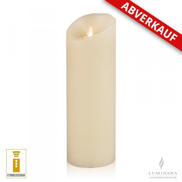 Luminara LED Kerze Echtwachs 8x23 cm elfenbein fernbedienbar Struktur AKTION